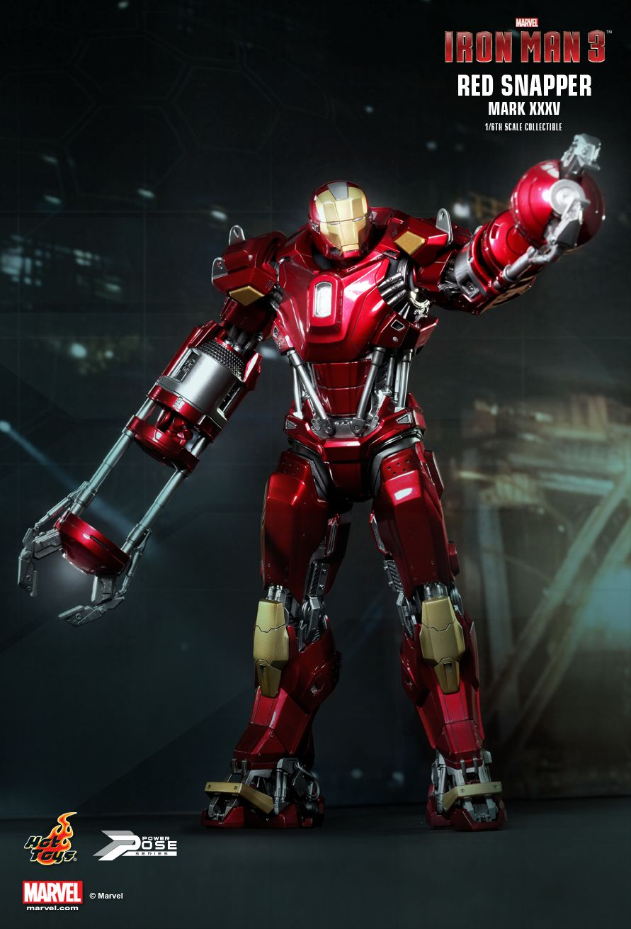 Iron Man 3 Toys ~ Marvel s iron man mark xxxv red snapper action figure by