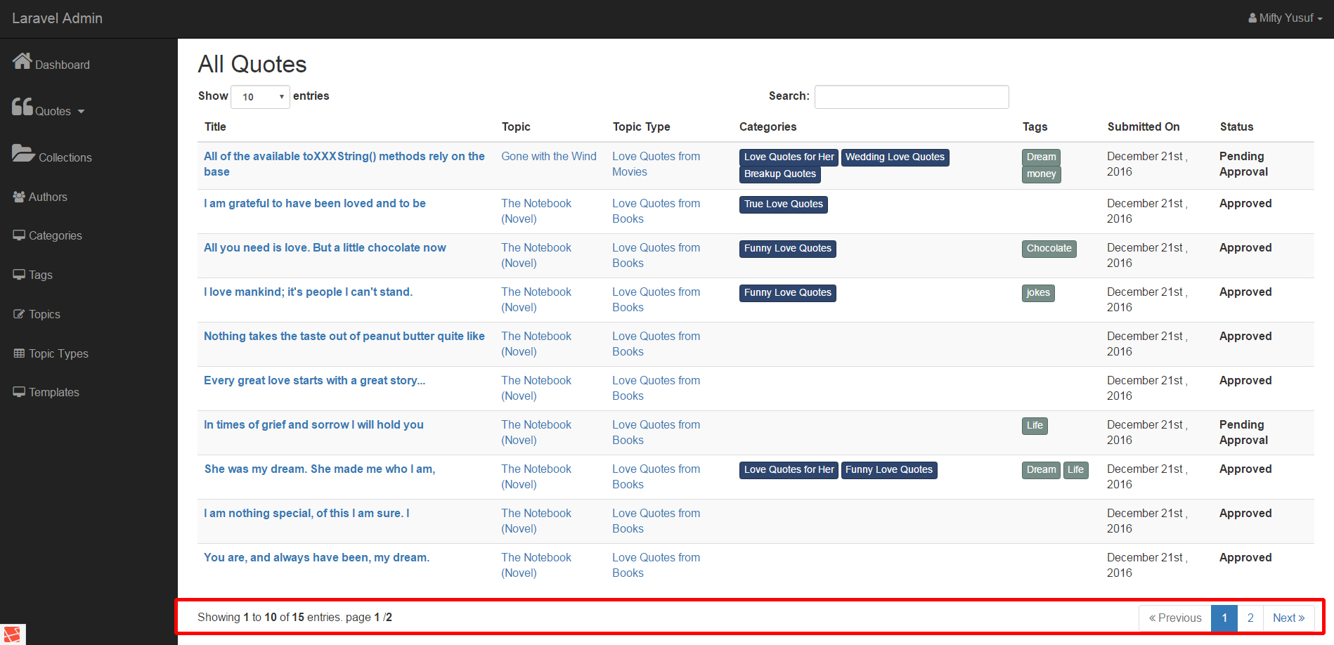 A Tutorial on custom pagination templates with links and